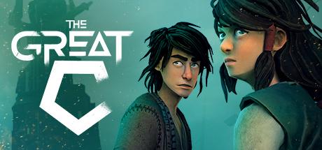Titelbild von The Great C. Vor einem dunkel-türkisen Hintergrund sind die  animierten Hauptcharaktere (ein junger Mann und eine junge Frau) abgebildet.  Sie beide blicken über die Schulter hinter den Betrachter des Bildes.